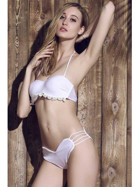 trendy Solid Color Heart Pattern Bikini Briefs - WHITE M Mobile