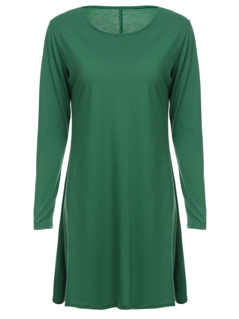 latest Loose Fitting Round Neck Solid Color Casual Dress - GREEN L Mobile