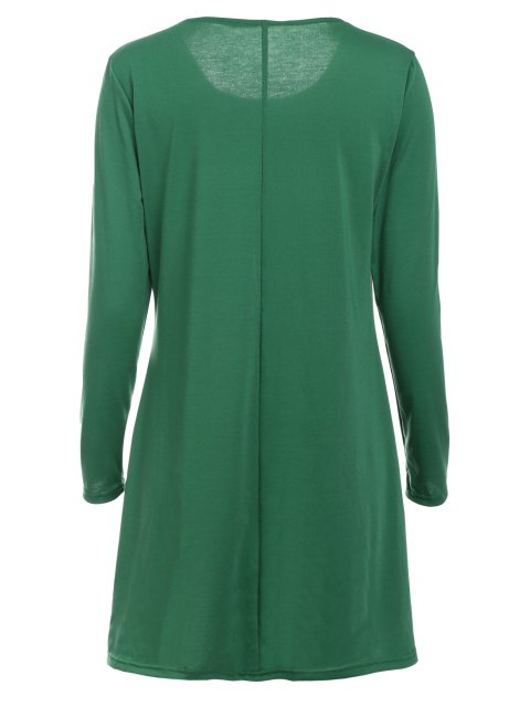 trendy Loose Fitting Round Neck Solid Color Casual Dress - GREEN XL Mobile