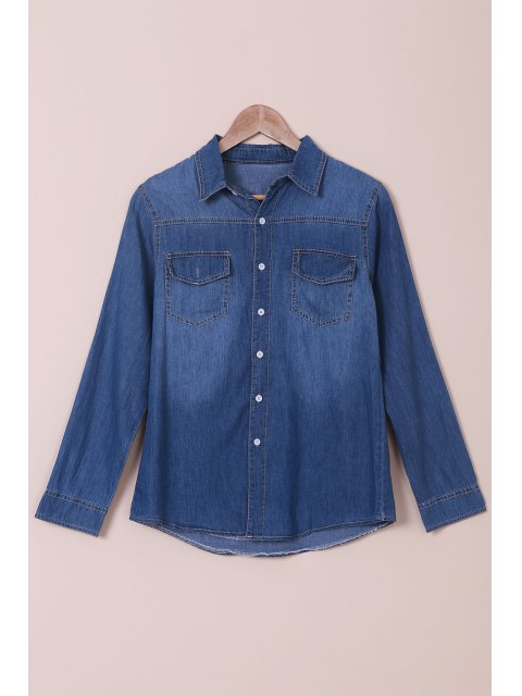 Denim Turn Down camisa de manga larga de cuello - Azul M Mobile