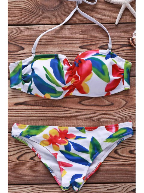 chic Flower Print Spaghetti Straps Bikini Set For Women - WHITE M Mobile