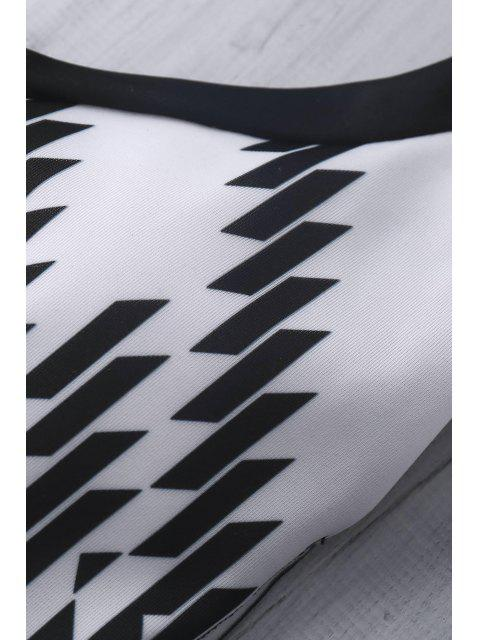 fashion Patterned Halter Swimsuit - WHITE AND BLACK M Mobile