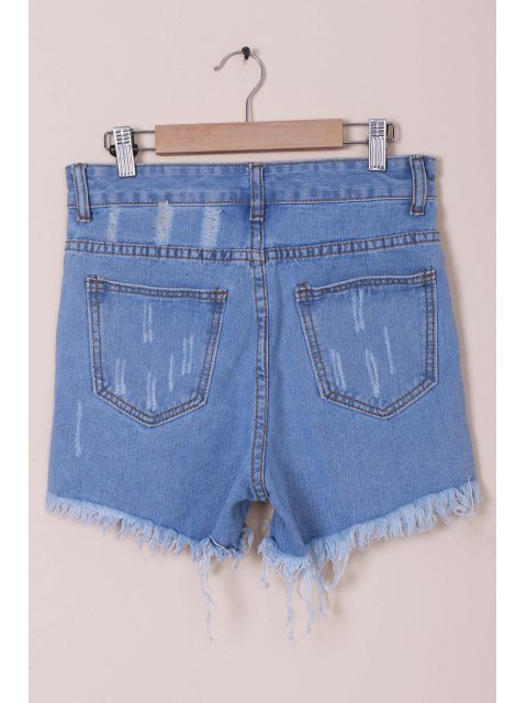 lady Solid Color Broken Hole High-Waist Denim Shorts - LIGHT BLUE XL Mobile