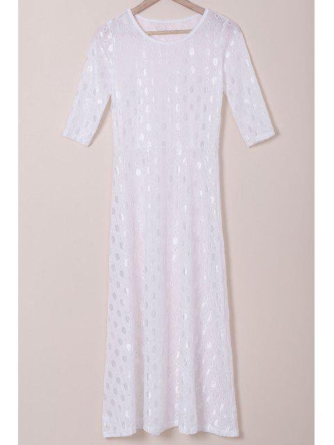 best White Half Sleeve Maxi Dress - WHITE S Mobile