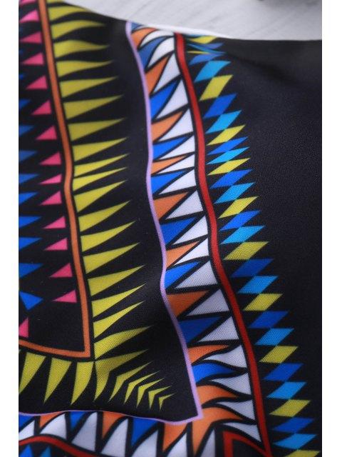 ladies High Neck Tribal Cut Out Bikini Set - BLACK S Mobile