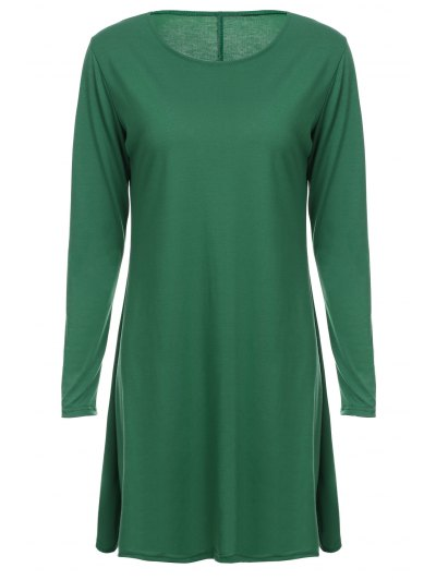 Loose Fitting Round Neck Solid Color Casual Dress - Green S