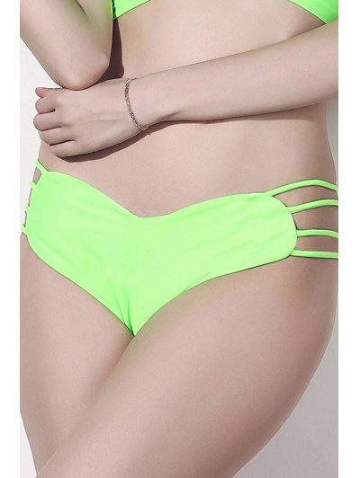 Solid Color Heart Pattern Bikini Briefs - Green M