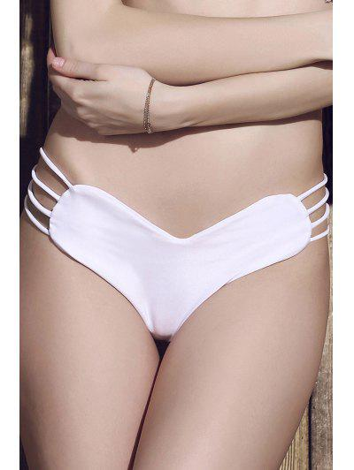 Solid Color Heart Pattern Bikini Briefs - White Xl