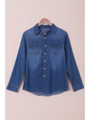 Denim Turn Down Collar Long Sleeves Shirt - Blue M