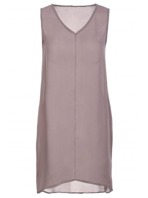 Pure Color V Neck Sleeveless Dress - Coffee Xl