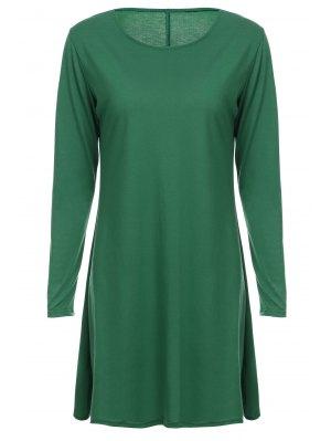 Robe Élégante Et Ample à Col Rond à Manches Longues  En Couleur Unie Pour Femmes - Vert L