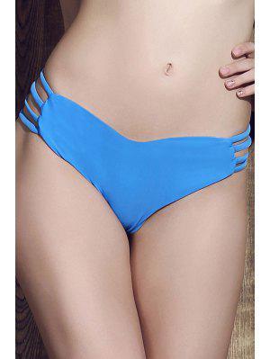 Solid Color Heart Pattern Bikini Briefs - Blue Xl