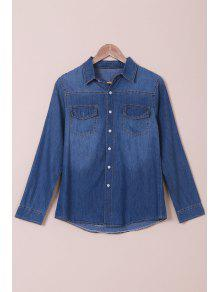 Denim Turn Down Collar Long Sleeves Shirt - Blue L