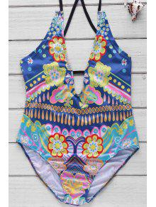 Sweet Floral Printed Backless Tied One-Piece Swimwear For Women - S