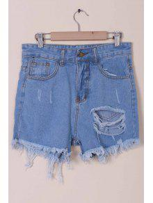 Buy Solid Color Broken Hole High-Waist Denim Shorts - LIGHT BLUE S