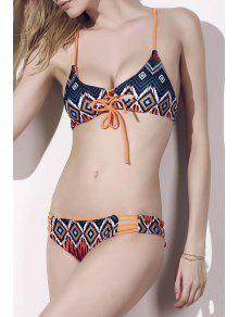 Printed Hollow Out Stringy Bikini Set - M