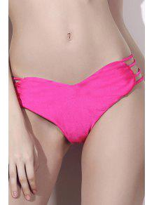 Solid Color Heart Pattern Bikini Briefs - Rose M