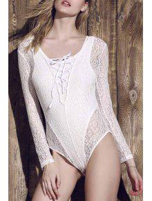 Lace See-Through Long Sleeve Bathing Suit - White S