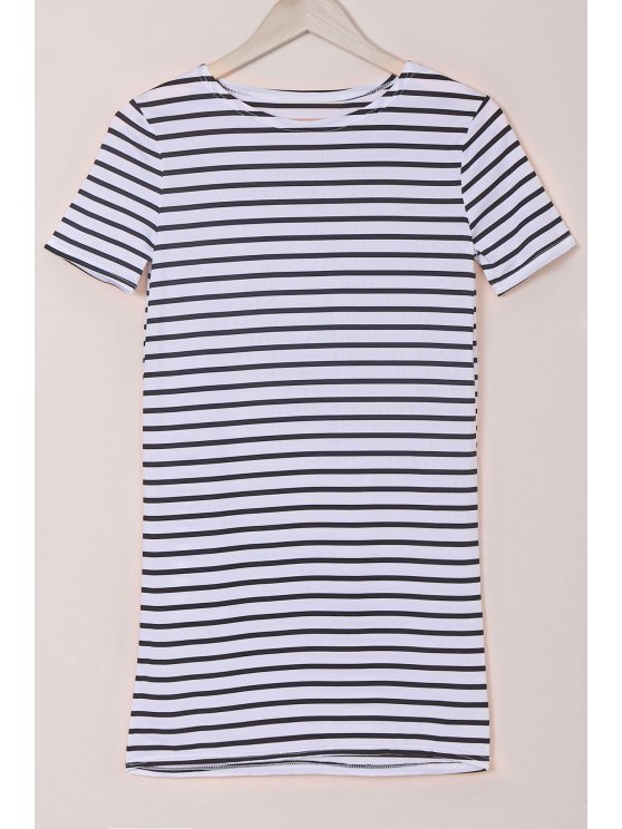 trendy Stripes Round Collar Short Sleeve Dress - WHITE AND BLACK M