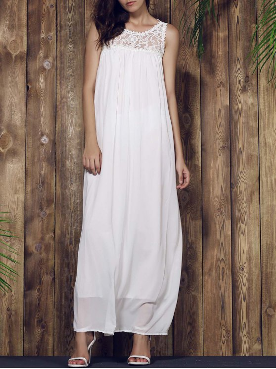 women Lace Yoke Maxi Chiffon Beach Dress - WHITE S