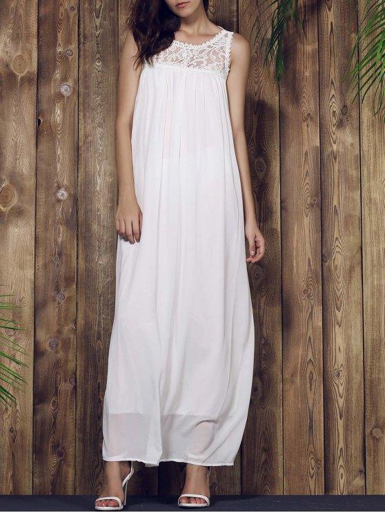 ladies Lace Yoke Maxi Chiffon Beach Dress - WHITE L