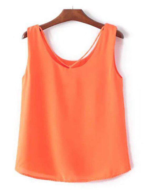 Freizeit-Shirt-Kragen-Normallack Chiffon Tank Top für Frauen - Roter Zirkon L