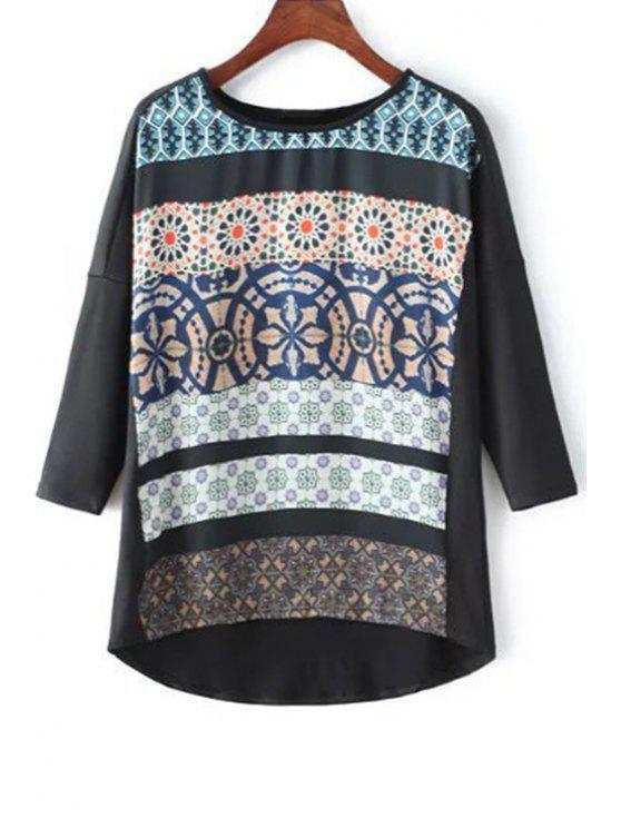 High-Low Imprimé col rond manches 3/4 T-shirt - Noir L