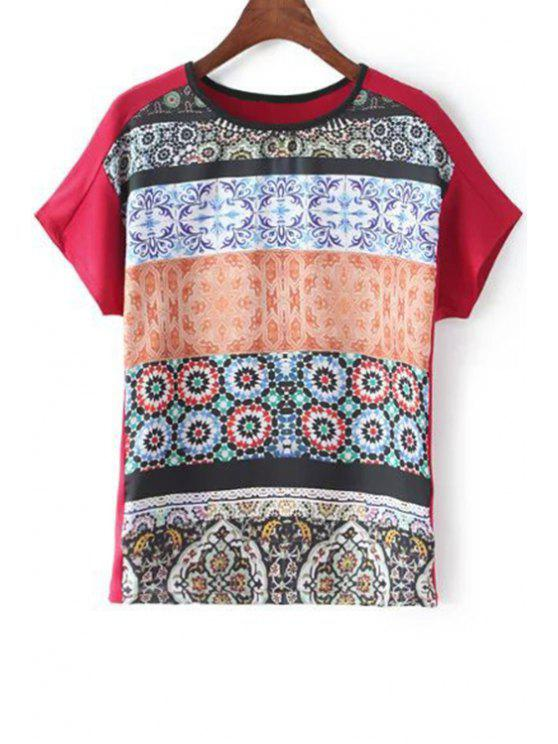 womens Fitting Printed Round Neck Short Sleeve T-Shirt - RED M