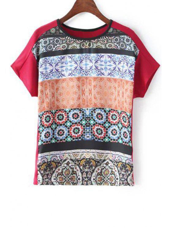 Manga de montaje redondo Impreso del cortocircuito del cuello de la camiseta - Rojo M