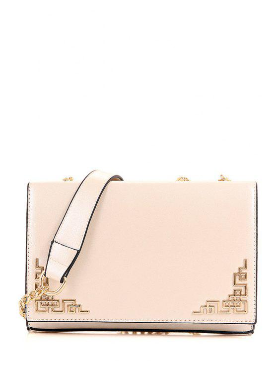 new Metallic Chains PU Leather Crossbody Bag - OFF-WHITE