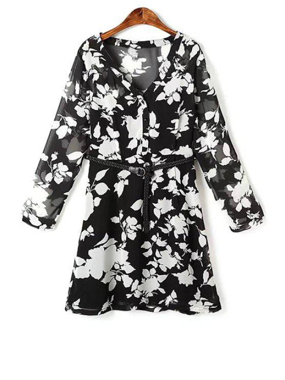 Flor de impresión con cuello en V vestido largo de gasa de la manga - Negro L