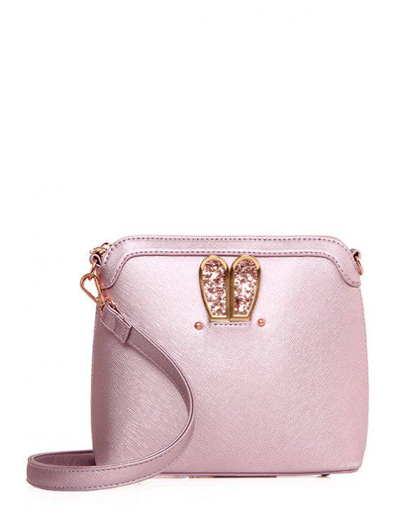 online Sequined Bunny Ear PU Leather Crossbody Bag - PINK