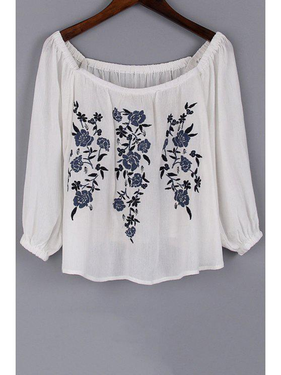 hot Floral Embroidery Scoop Neck 3/4 Sleeve Blouse - WHITE S