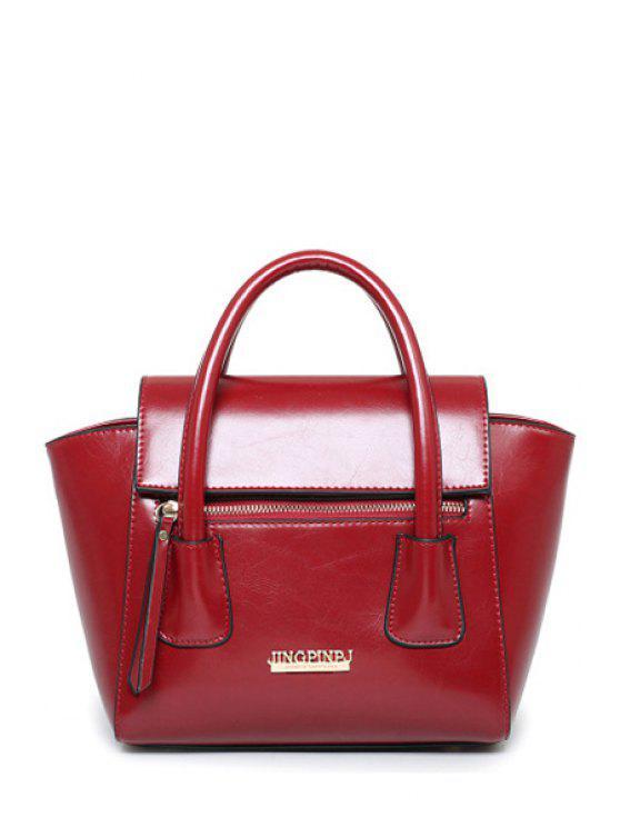 Cartas del color sólido de la PU bolso de mano - Vino Rojo
