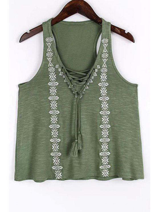 lady Lace Up V-Neck Embroidery Tank Top - GREEN M