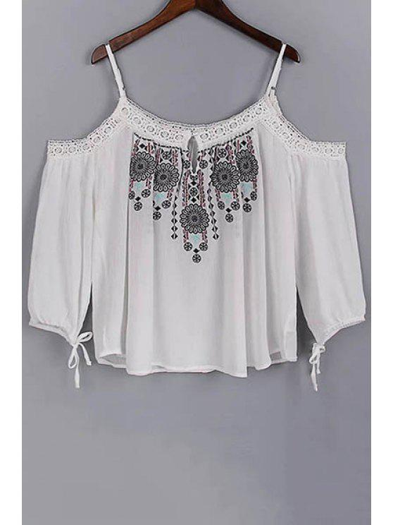 online Embroidery Spaghetti Straps 3/4 Sleeve Blouse - WHITE M