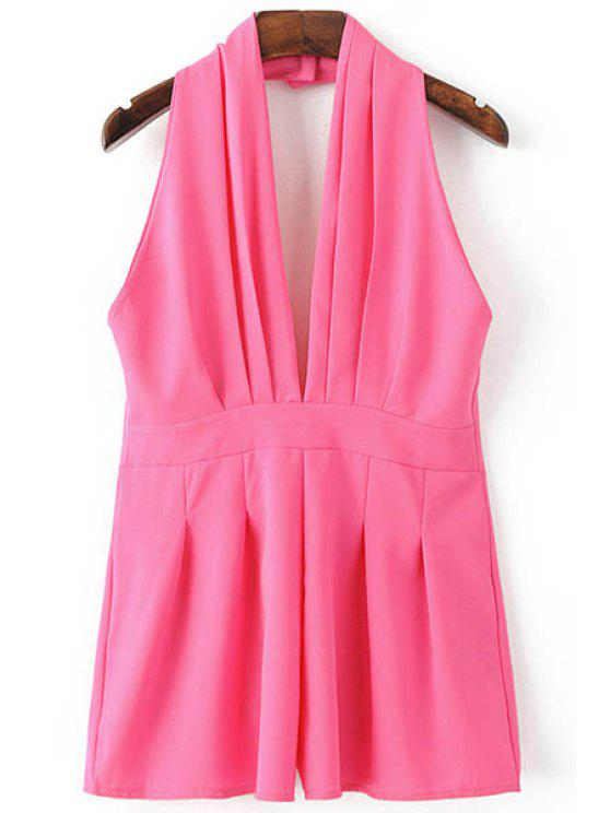 shops Backless Solid Color Plunging Neck Sleeveless Romper - ROSE S