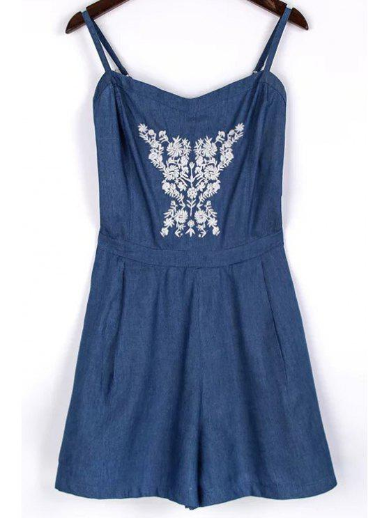 outfit Embroidery Spaghetti Straps Chambray Romper - BLUE S