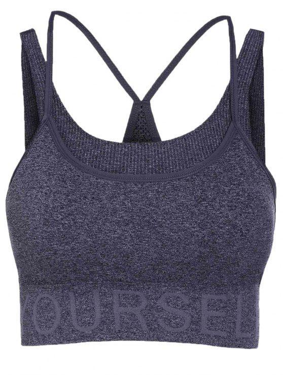 Soutien-gorge de sport gris motif de lettre - gris foncé S