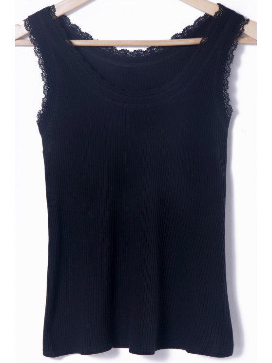 Tank Top Neck Solid Color Lace Splicing Scoop - Noir Taille Unique(S'adap