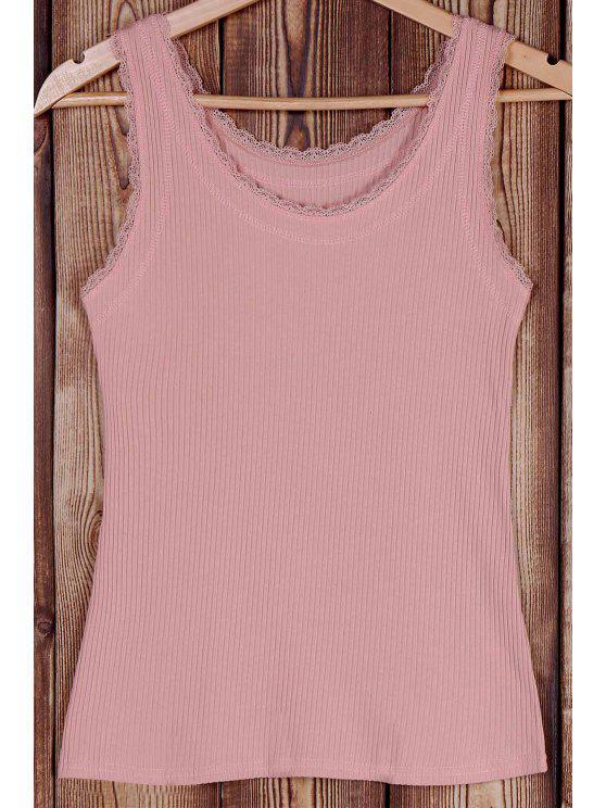 El empalme de la cucharada de color sólido del cordón del cuello sin mangas - Rosa Un tamaño(Montar tam