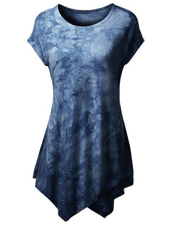 Résumé Imprimer T-shirt à manches courtes - Bleu Foncé XL
