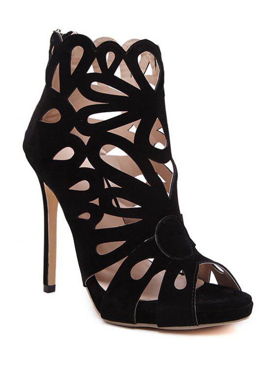 chic Hollow Out Peep Toe Black Sandals - BLACK 35