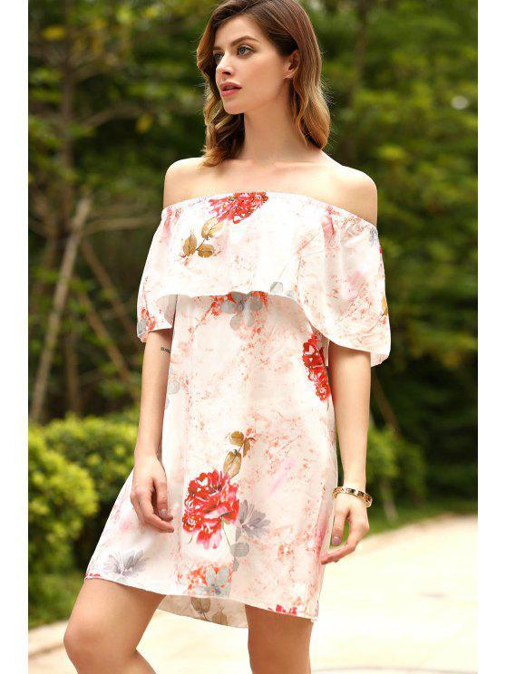 Floral Rüschen weg von der Schulter-Kleid - Rot XL