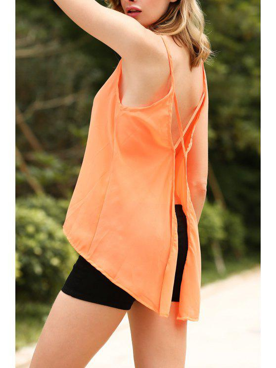 Solid Color Cut Out Tank Top sans manches bretelles spaghetti - Orange Rose L