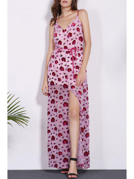 Stampa floreale di spaghetti Dress cinghie - Rosso M