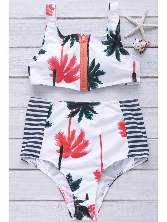 trendy Palm Print Round Neck Bikini Set - WHITE L