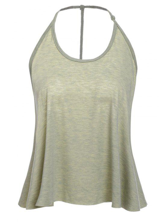 fancy Solid Color Cami Tank Top - OLIVE GREEN XL