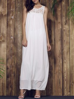 Lace Yoke Maxi Chiffon Beach Dress - White L