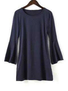 Fitting Solid Color Round Neck Flare Sleeve Dress - Purplish Blue L